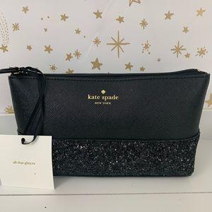 Kate Spade | Little Shiloh Black Glitter Zip Bag